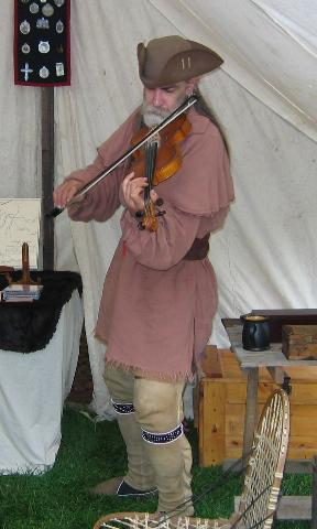 Fiddling at Fort Frederick Market Fair, April 2005 <br> <br> Photo by Jack O'Brien